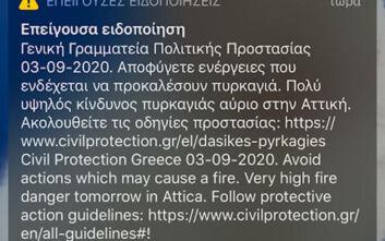 Έκτακτο μήνυμα από το 112 στους κατοίκους της Αττικής: Πολύ υψηλός κίνδυνος πυρκαγιάς αύριο