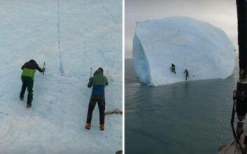 Η τρομακτική στιγμή που παγόβουνο αναποδογύρισε ενώ δύο ερευνητές ήταν πάνω του