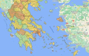 Ο χάρτης του κορονοϊού: Οι «πορτοκαλί» περιοχές στην Ελλάδα - Στο επίπεδο 3 η Αττική