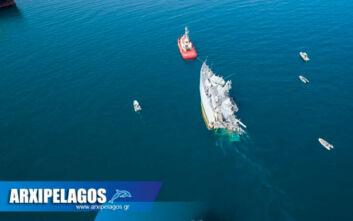 Σύγκρουση πλοίων στον Πειραιά: Εικόνες από drone με τις ζημιές στο ναρκοθηρευτικό Καλλιστώ