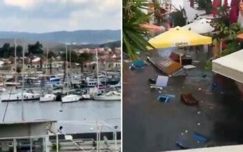 Σεισμός στη Σμύρνη: Βίντεο με το φονικό τσουνάμι να παρασύρει πολυτελή σκάφη σε μαρίνα - Πλημμύρησαν δρόμοι