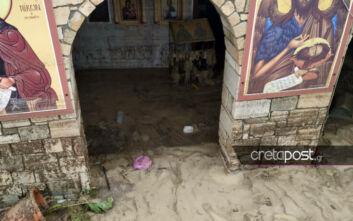 Στο έλεος της κακοκαιρίας η Κρήτη: Βούλιαξε στη λάσπη το ξωκλήσι του Αγίου Ιωάννη στον Καρτερό