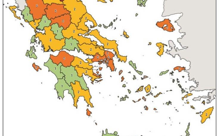 Αυτός είναι ο νέος χάρτης με τα επιδημιολογικά φορτία στην Ελλάδα