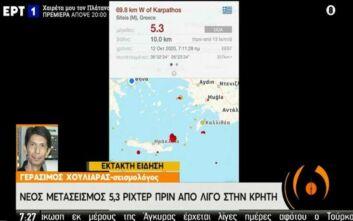 Χουλιάρας για σεισμούς στην Κρήτη: Να είμαστε ψύχραιμοι για λίγη ώρα να δούμε πώς εξελίσσεται το φαινόμενο