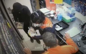 Καρέ-καρέ η ένοπλη ληστεία σε βενζινάδικο στη Θεσσαλονίκη