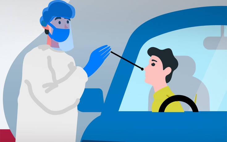 Τεστ κορονοϊού εύκολα και γρήγορα μέσα από την ασφάλεια του αυτοκινήτου σου