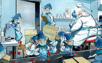 Εκπληκτικό σκίτσο των Times: Ο Άγιος Βασίλης και τα ξωτικά ετοιμάζουν το εμβόλιο του κορονοϊού