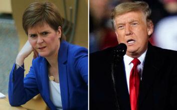 «Πόρτα» της Στέρτζον στον Τραμπ: Δεν μπορεί να έρθει στην Σκωτία, έχουμε καραντίνα