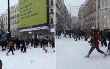 Η Μαδρίτη είδε την... πιο άσπρη μέρα μετά το 1971 και οι κάτοικοι το καταχάρηκαν - Δείτε βίντεο και φωτογραφίες