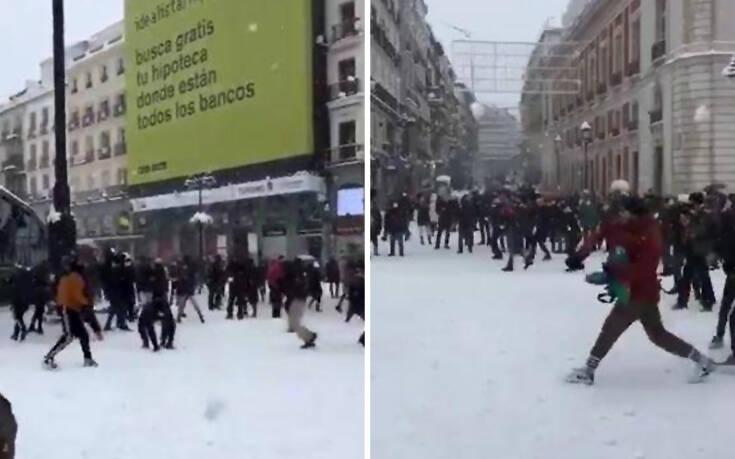 Η Μαδρίτη είδε την… πιο άσπρη μέρα μετά το 1971 και οι κάτοικοι το καταχάρηκαν – Δείτε βίντεο και φωτογραφίες