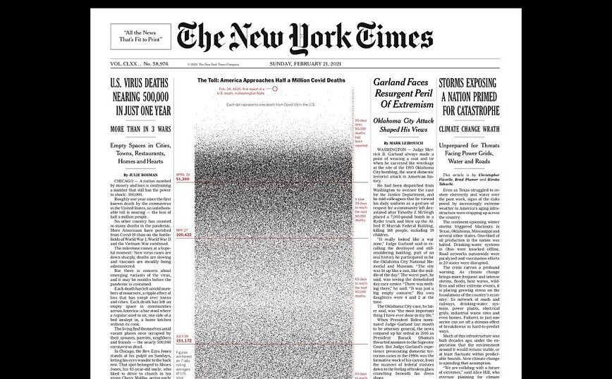 Το συγκλονιστικό εξώφυλλο της New York Times για τα 500.000 περίπου θύματα του κορονοϊού