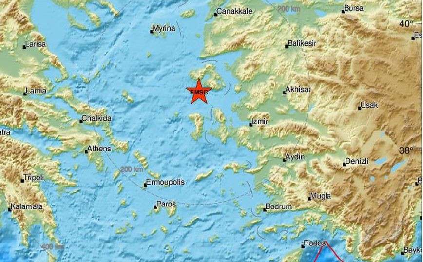 Σεισμός τώρα νότια της Λέσβου
