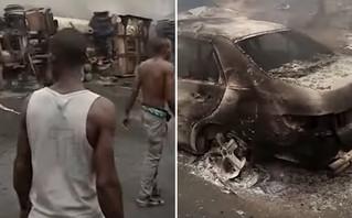 Εικόνες χάους μετά την ανατροπή βυτιοφόρου: 12 άνθρωποι σκοτώθηκαν, δεκάδες σπίτια κάηκαν
