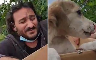 Βασίλης Χαραλαμπόπουλος: «Βούτηξε» μέσα σε κάδο για να σώσει ένα κουτάβι