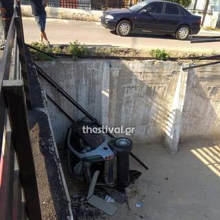 Θεσσαλονίκη: Αυτοκίνητο «προσγειώθηκε» σε πάρκινγκ μετά από καταδίωξη