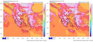 Καιρός: Τα νεότερα δεδομένα για τον καύσωνα – Χάρτες του meteo για την Παρασκευή 30 Ιουλίου και το Σάββατο 31 Ιουλίου