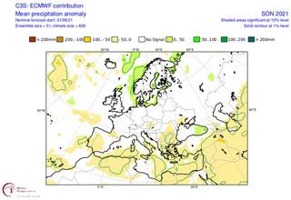 Χάρτες της ΕΜΥ για τις βροχοπτώσεις φετινό φθινόπωρο