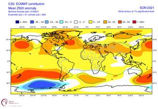 Χάρτης της ΕΜΥ για τις αποκλίσεις των γεωδυναμικών υψών το φετινό φθινόπωρο