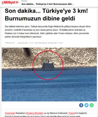 Η είδηση της συμφωνίας Ελλάδας Γαλλίας σε τουρκικό μέσο