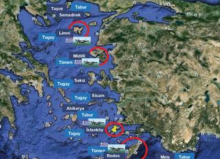 Ο προκλητικός χάρτης της Τουρκίας «με τα νησιά του Αιγαίου που δεν θα πρέπει να φέρουν στρατό στο έδαφός τους»